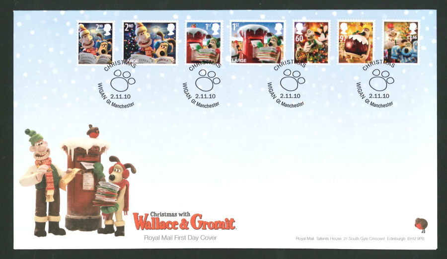 2010 - Christmas Set First Day Cover, Wigan Gt Manchester Postmark