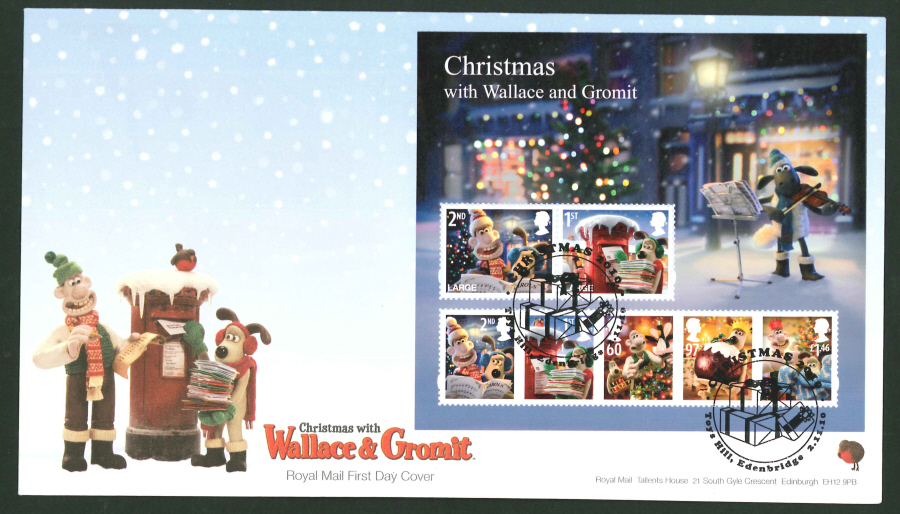 2010 - Christmas Mini Sheet First Day Cover, Toys Hill, Edenbridge Postmark