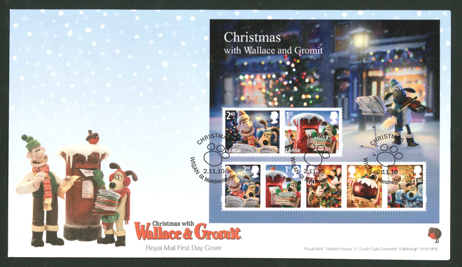 2010 - Christmas Mini Sheet First Day Cover, Wigan Gt Manchester Postmark
