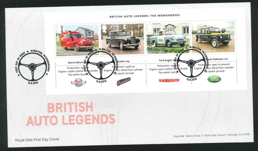 2013 - British Auto Legends Miniature Sheet First Day Cover, FDI Pictorial Alwalton Postmark