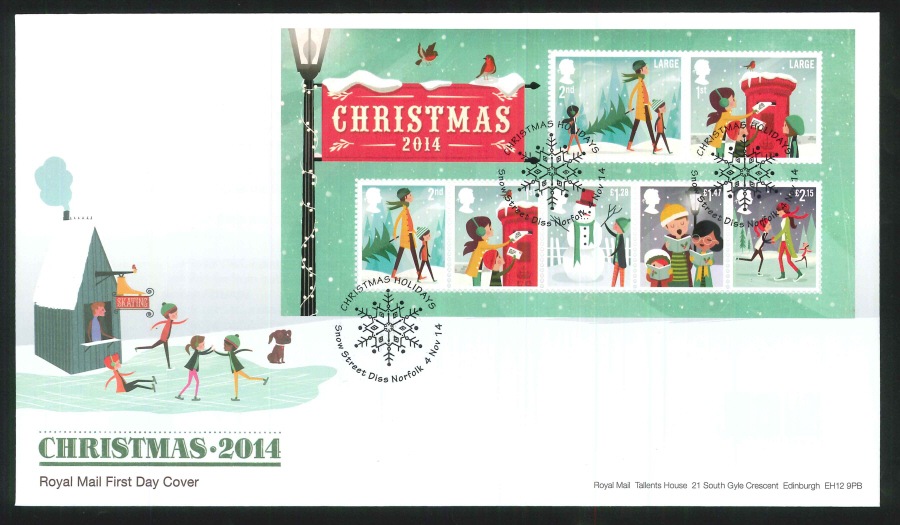 2014 Christmas Mini Sheet FDC Snow St Handstamp
