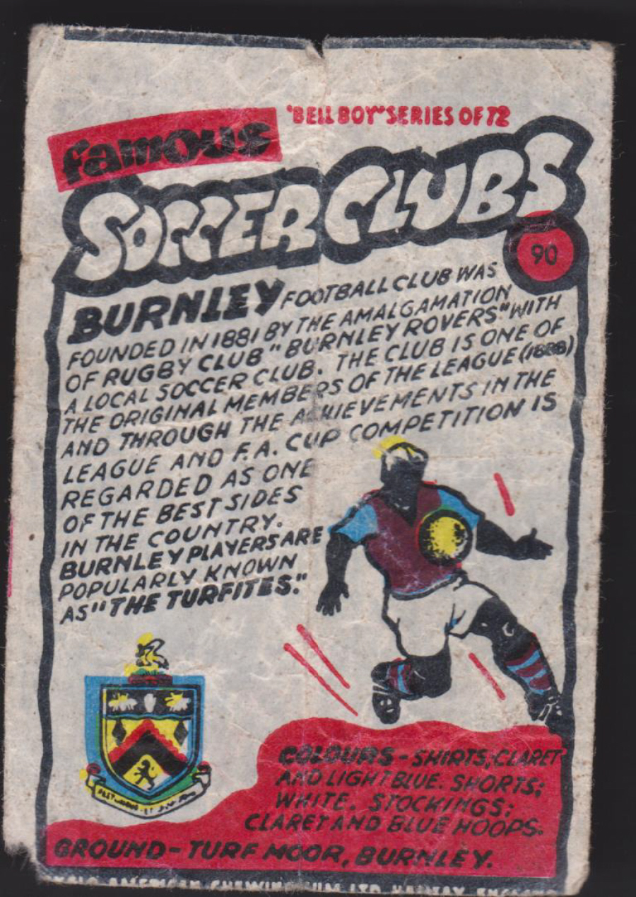 Anglo-American-Chewing-Gum-Wax-Wrapper-Famous-Soccer-Clubs-No-90 - Burnley