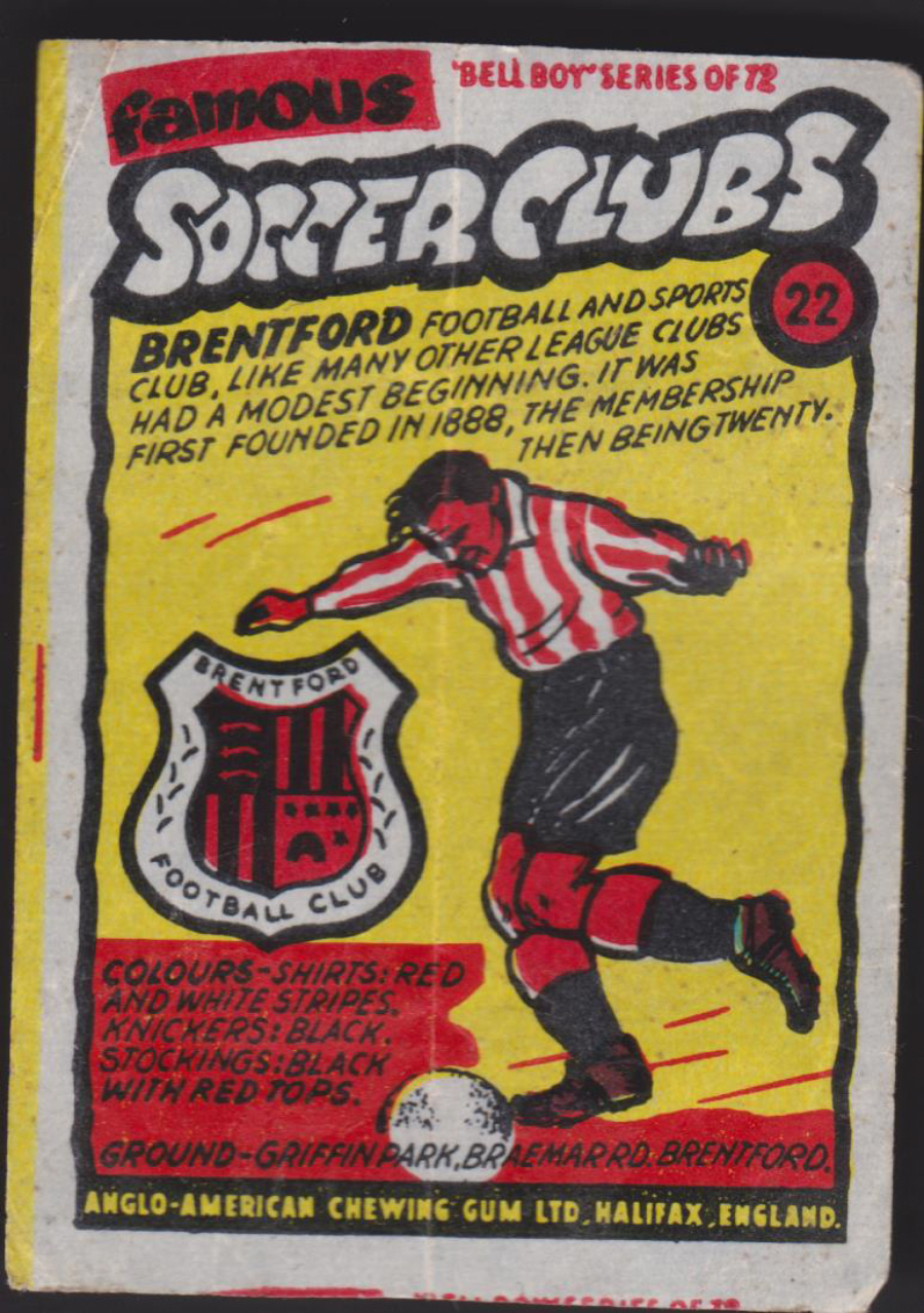 Anglo-American-Chewing-Gum-Wax-Wrapper-Famous-Soccer-Clubs-No-22 - Brentford