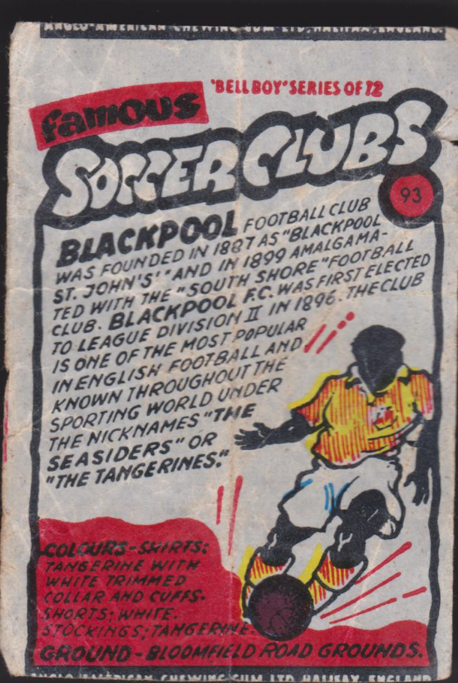 Anglo-American-Chewing-Gum-Wax-Wrapper-Famous-Soccer-Clubs-No-93 - Blackpool