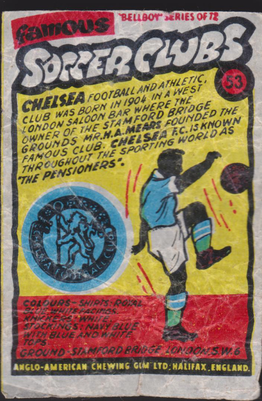 Anglo-American-Chewing-Gum-Wax-Wrapper-Famous-Soccer-Clubs-No-53 - Chelsea