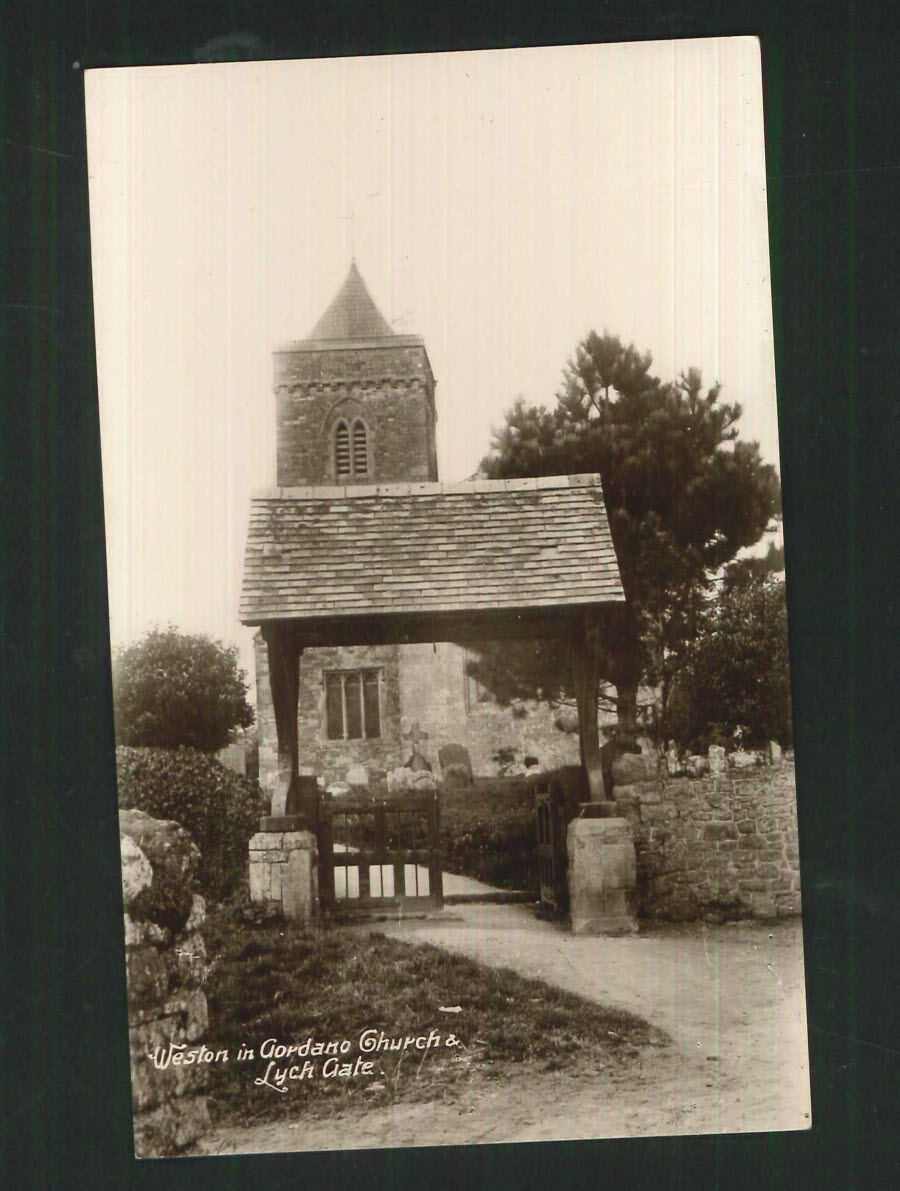 Postcard Somerset - Weston in Gordano Church & Lych Gate - Click Image to Close