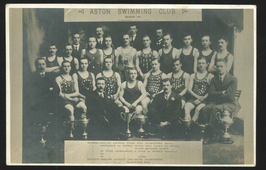 Postcard Birmingham R P Aston Swimming Club 1914 Season