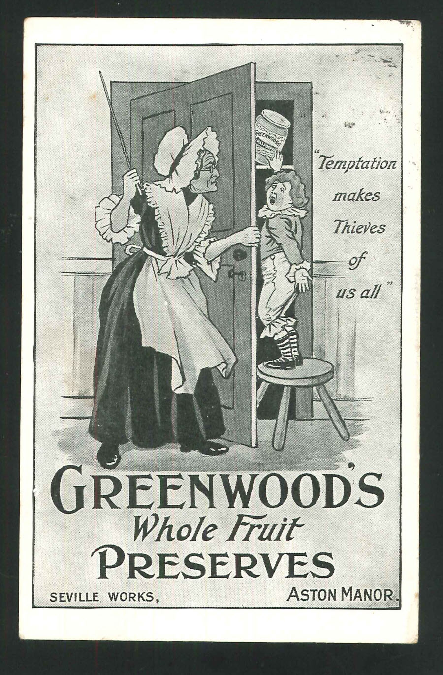 Postcard Birmingham Greenwoods Whole Fruit Preserves Advert Seville Works, Aston Manor1904