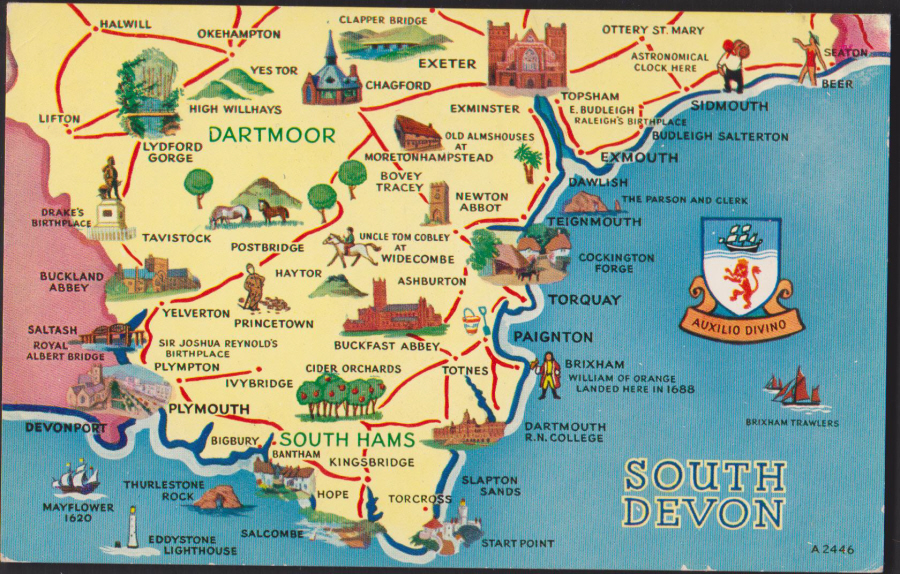 Postcard- Maps -South Devon area used by Valentine