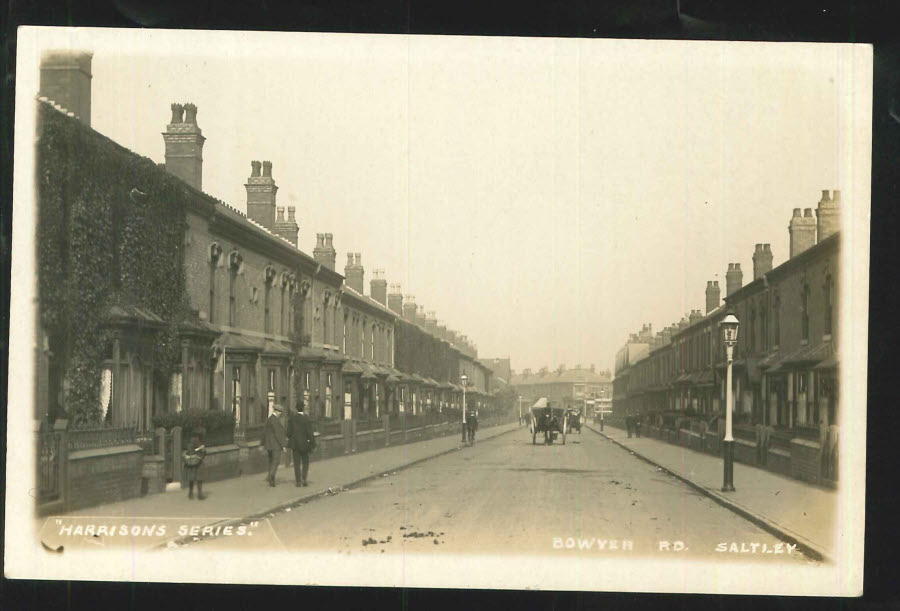 Postcard Birmingham R P Bowyer Rd, Saltley looking towards Alum Rock Rd