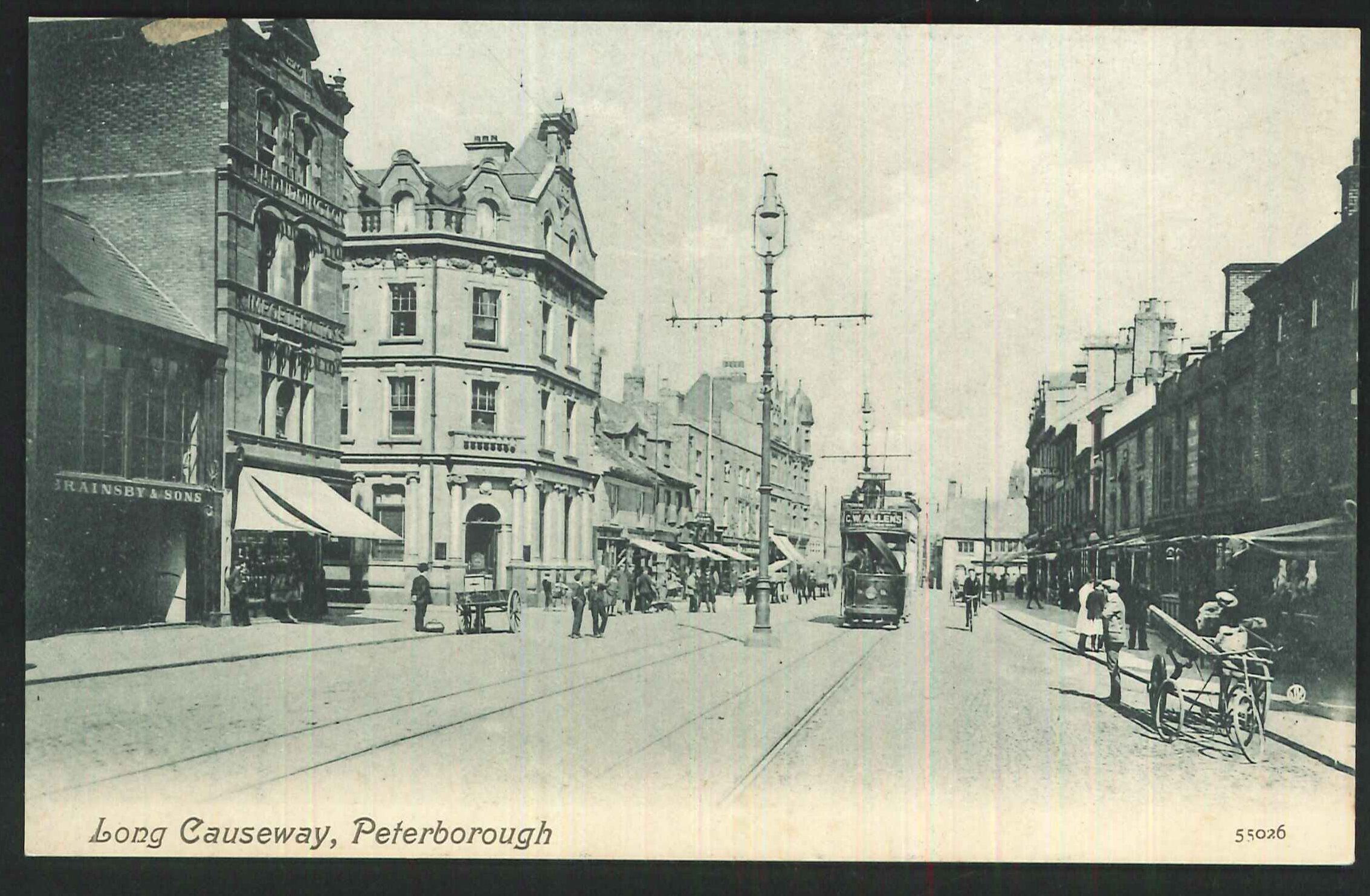 Postcard Tram on Long Causeway Peterborough