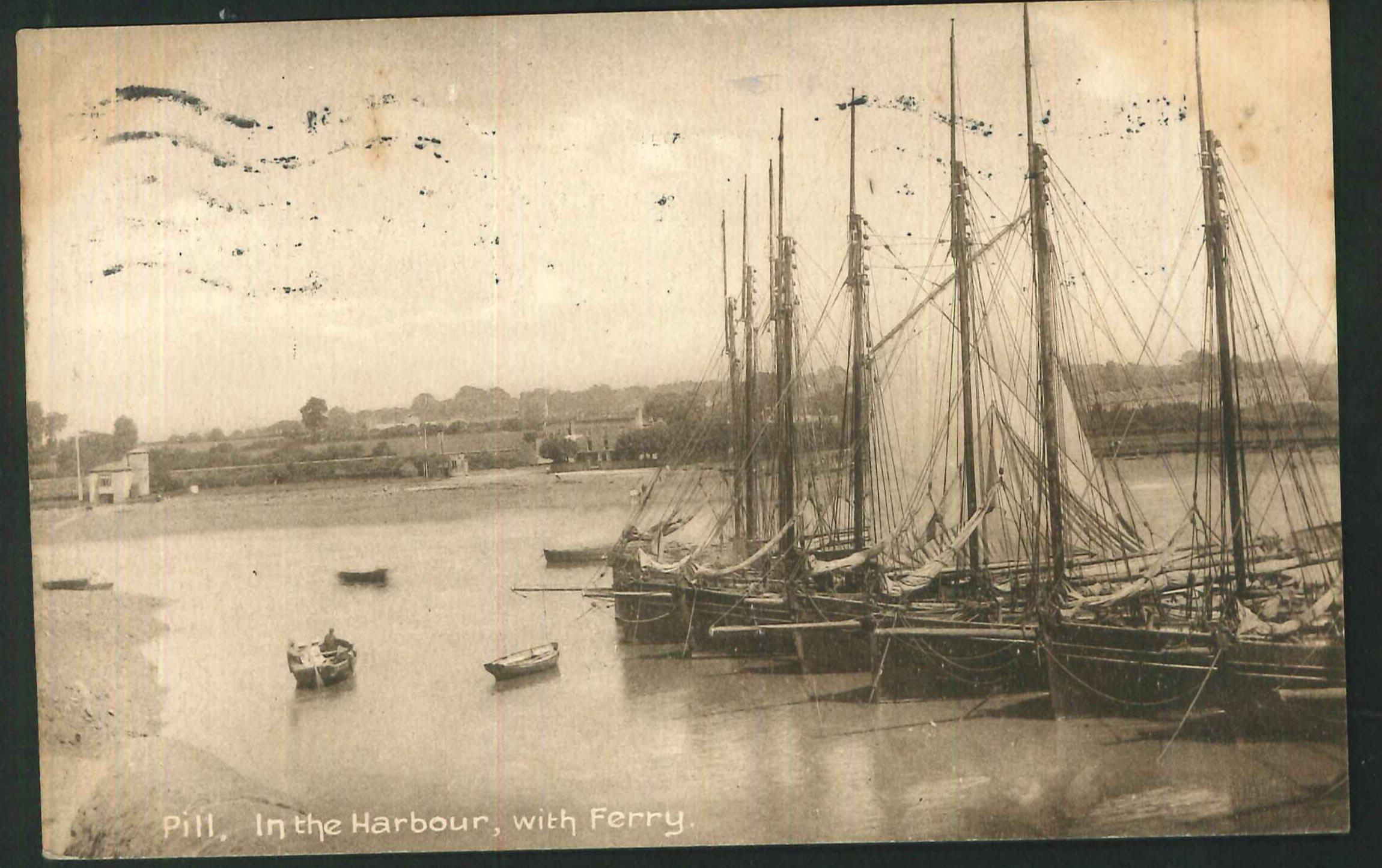 Postcard The Harbour and Ferry Pill Somerset 1920