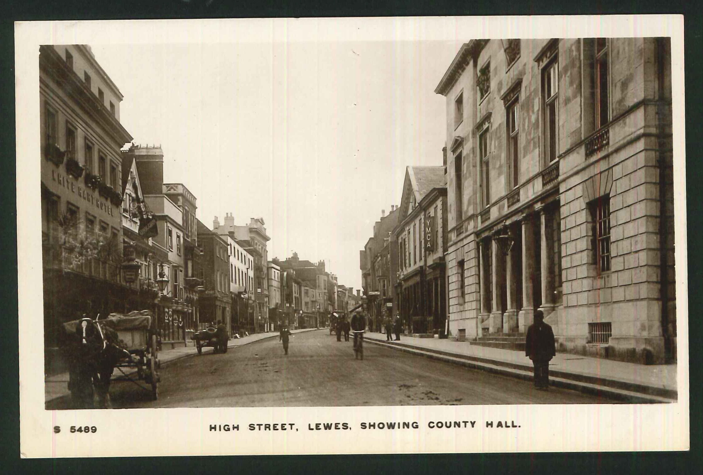 Postcard High Street and County Hall Lewes Sussex Real Photo