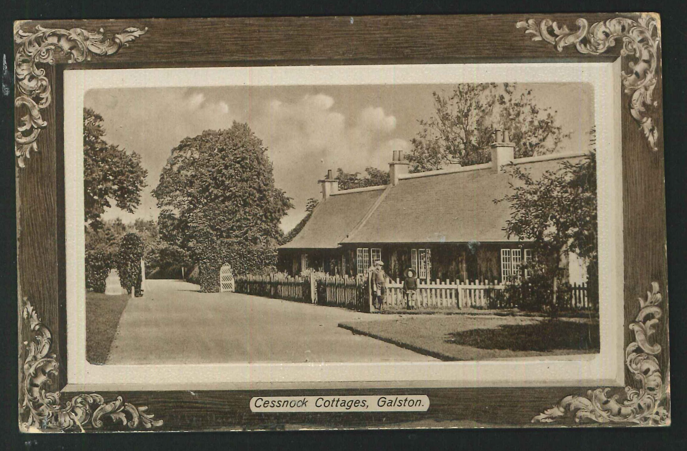 Postcard Cessnock Cottages Galston Ayrshire 1912