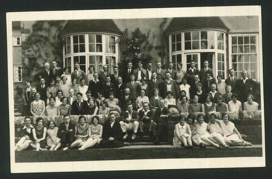 Postcard Group Photo C.H.A Guest House Hope Derbyshire