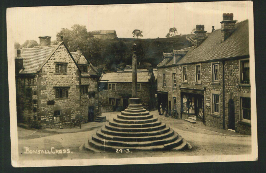 Postcard Plain Back Bonsall Cross Derbyshire real photo