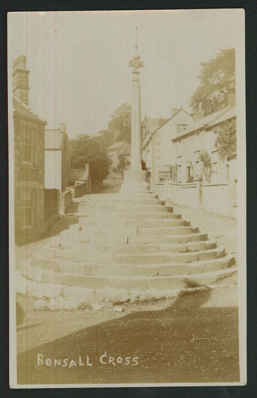Postcard Bonsall Cross Derbyshire Real Photo