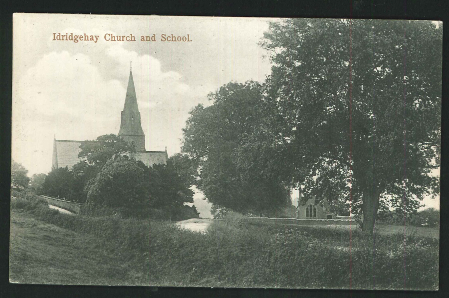Postcard Idridgehay Church and School Derbyshire