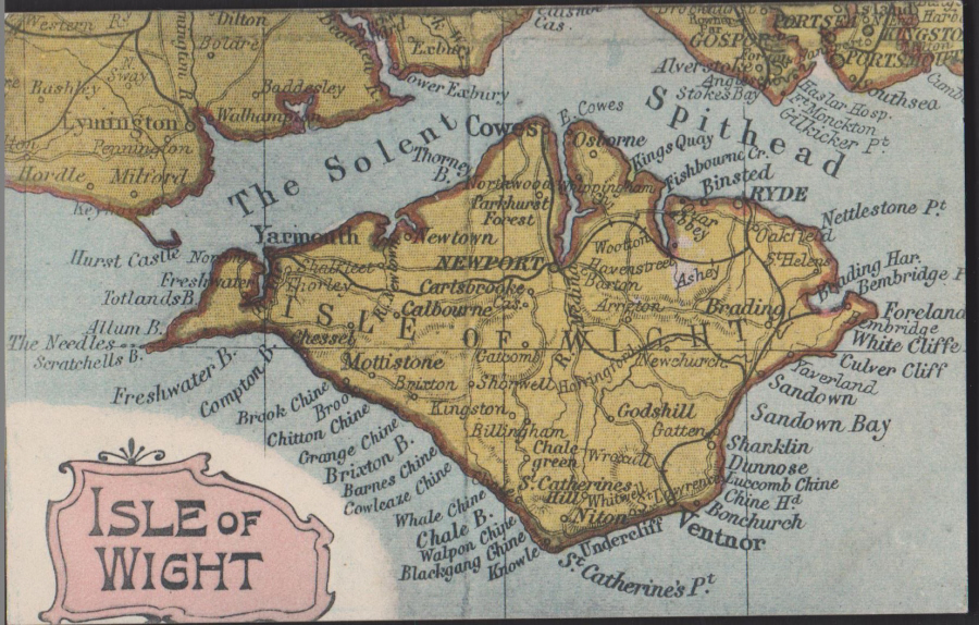 Postcard- Maps -Isle of Wight used