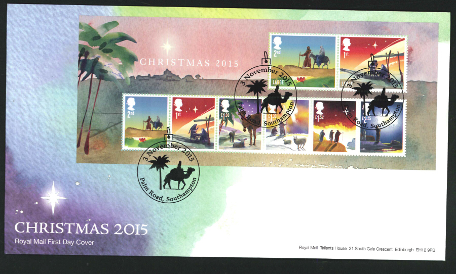 2015 - Christmas Miniature Sheet First Day Cover, Palm Road, Southampton Postmark
