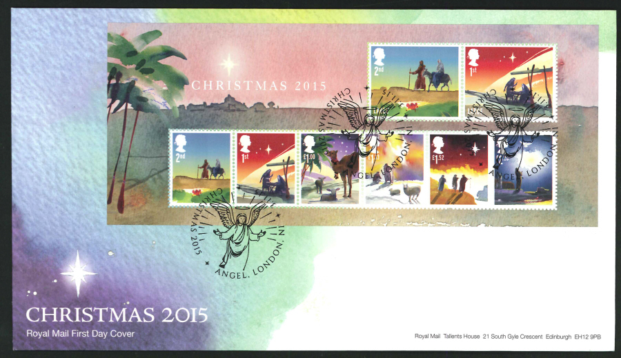 2015 - Christmas Miniature Sheet First Day Cover, Angel , London, N1 Postmark