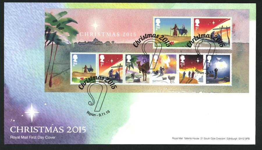 2015 - Christmas Miniature Sheet First Day Cover, Ripon Postmark
