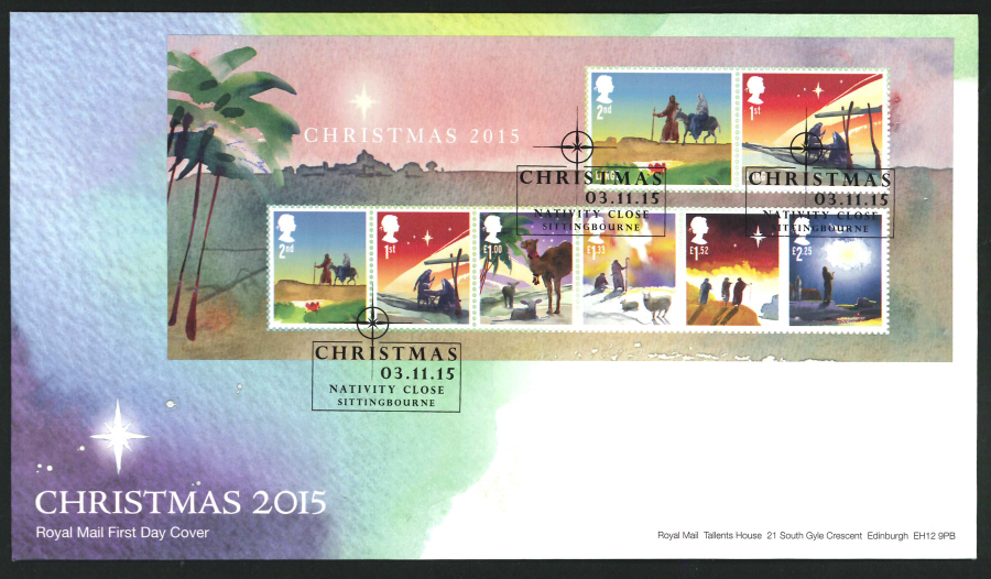 2015 - Christmas Miniature Sheet First Day Cover, Nativity Close, Sittingbourne Postmark