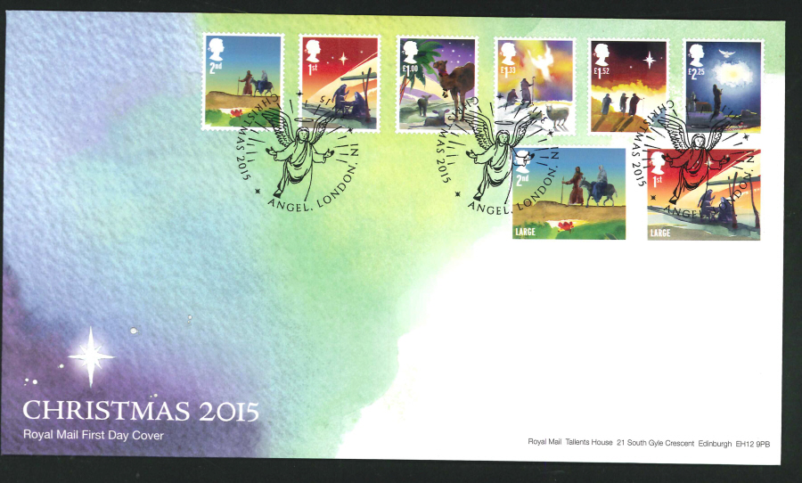 2015 - Christmas Set First Day Cover, Angel , London, N1 Postmark