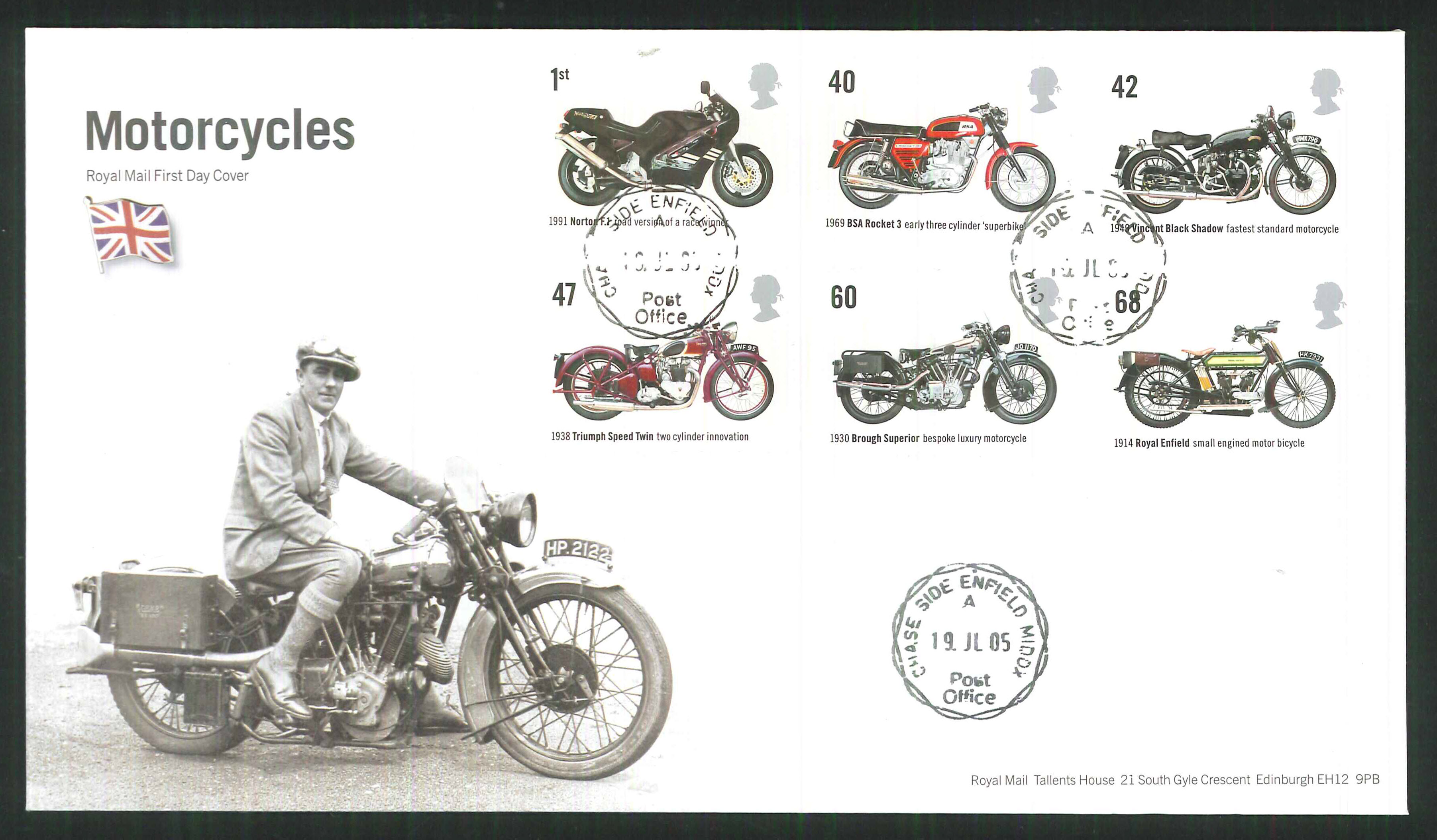 2005 British Motorcycles First Day Cover - Enfield C D S Postmark