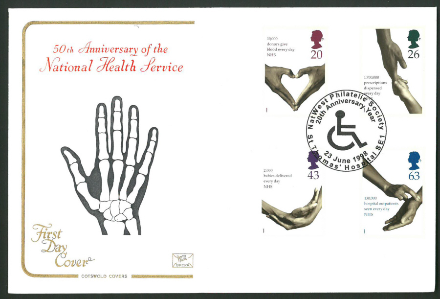1998 Cotswold First Day Cover - N H S St Thomas Hospital Postmark -