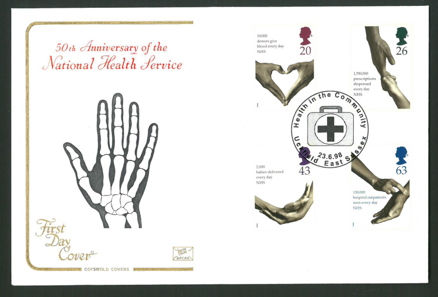 1998 Cotswold First Day Cover - N H S - Health in Community Uckfield Postmark -