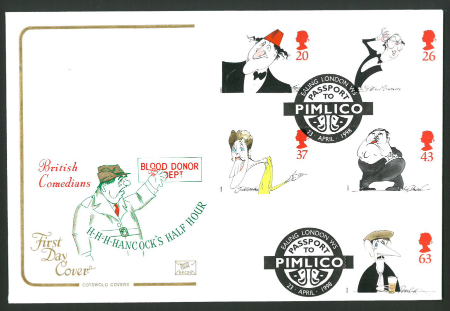 1998 Cotswold First Day Cover -Comedy- Ealing Passport to Pimlico Postmark -
