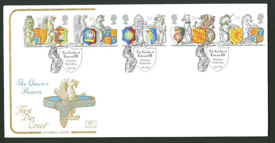 1998 Cotswold First Day Cover -Queen's Beasts - Griffin Edward lll Windsor Postmark -