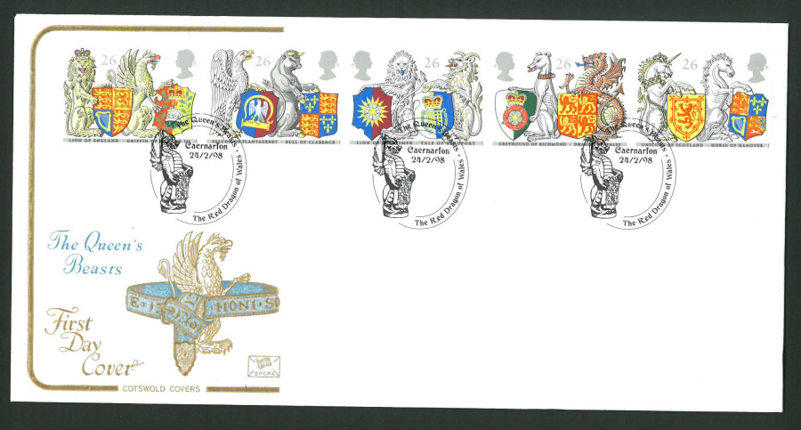 1998 Cotswold First Day Cover -Queen's Beasts - Red Dragon of Wales Postmark -