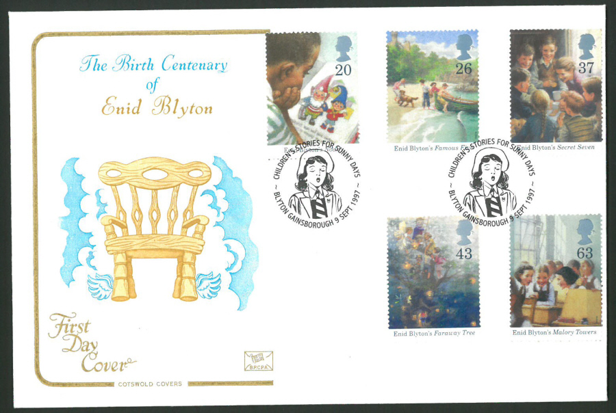 1997 Cotswold First Day Cover -Enid Blyton - Blyton Gainsborough Postmark -