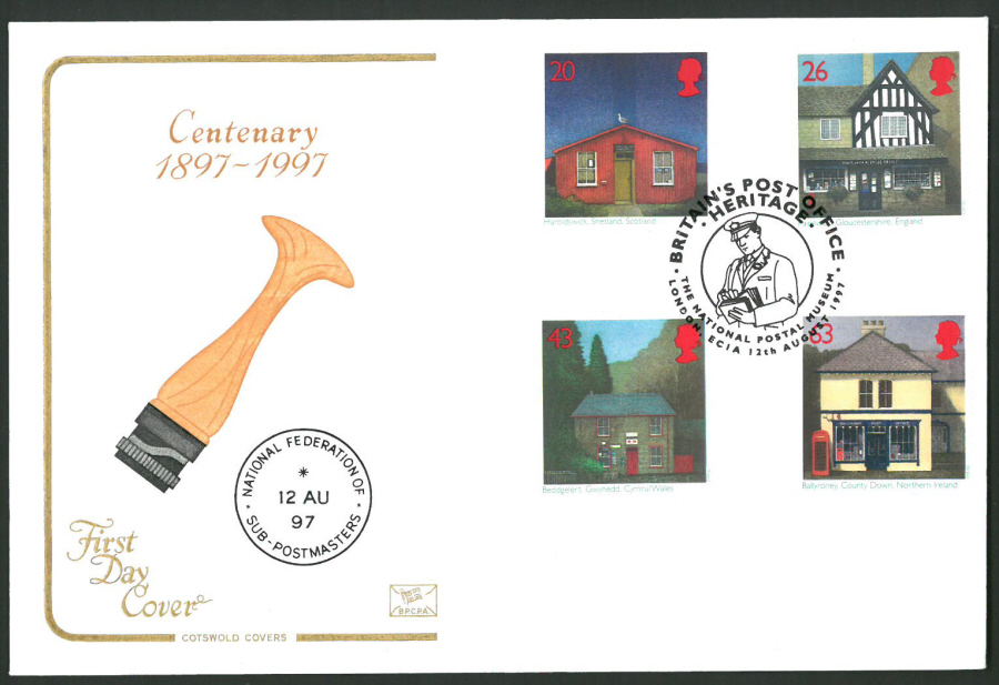 1997 Cotswold First Day Cover -Sub Post Office - National Postal Museum London Postmark -