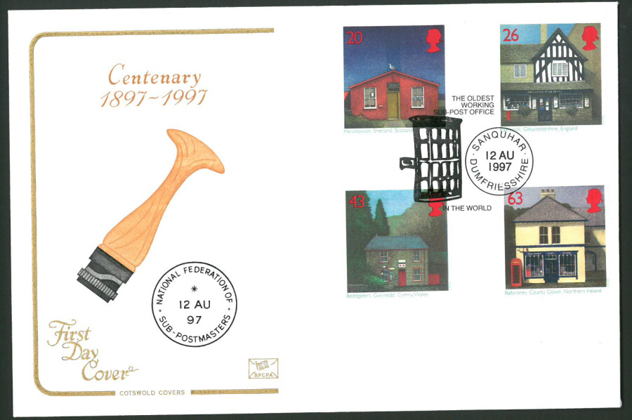 1997 Cotswold First Day Cover -Sub Post Office -Sanquhar Postmark -