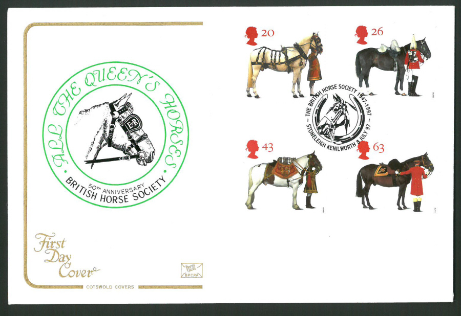 1997 Cotswold First Day Cover -The Queen's Horses -Horse Society Stoneleigh Postmark -
