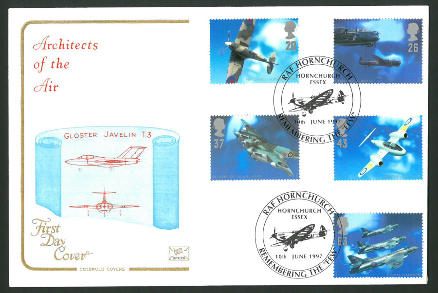 1997 Cotswold First Day Cover -Architects of the Air -R A F Hornchurch Postmark -