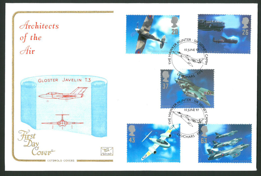 1997 Cotswold First Day Cover -Architects of the Air -Hawker Hunter Postmark -