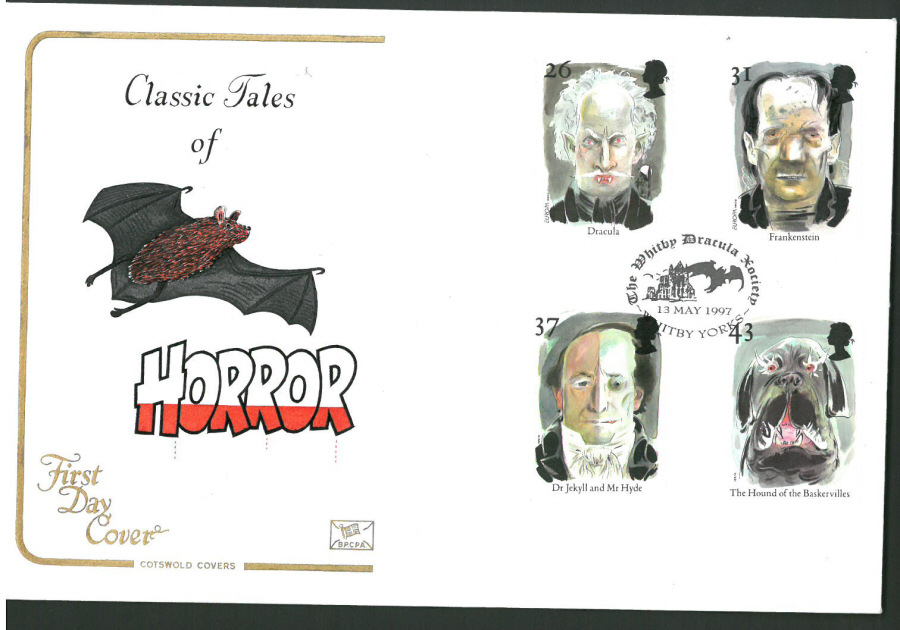 1997 Cotswold First Day Cover -Horror - Whitby Dracula Society Postmark -
