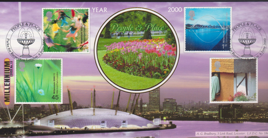 2000 People & Place Bradbury First Day Cover -Parks for London Postmark