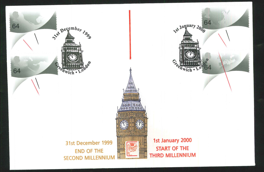 1999 & 2000 Millennium Commemorative Cover - Double Greenwich Postmark