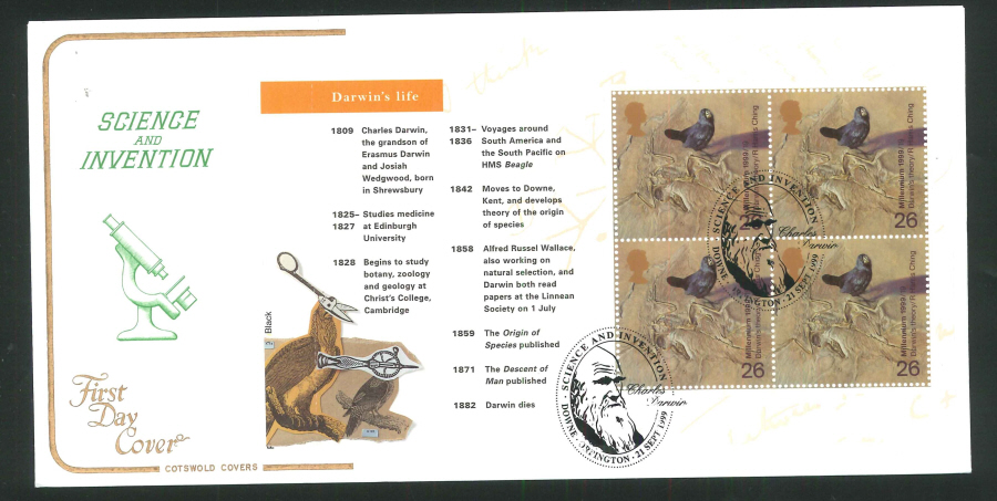 1999 Science & Invention First Day Covers- Set of 5, various postmarks