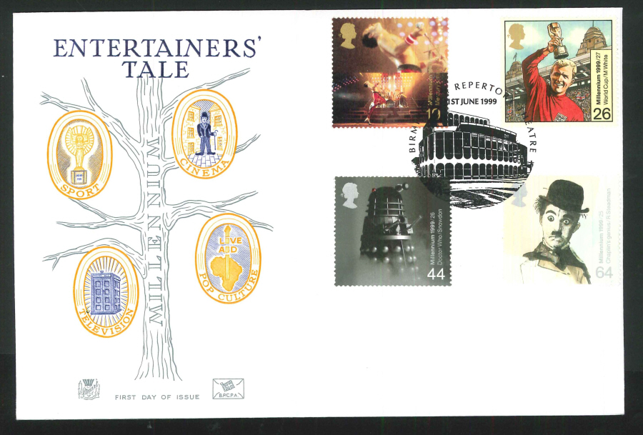 1999 Millennium Tales Entertainers' First Day Cover - Birmingham Repertory Theatre Postmark