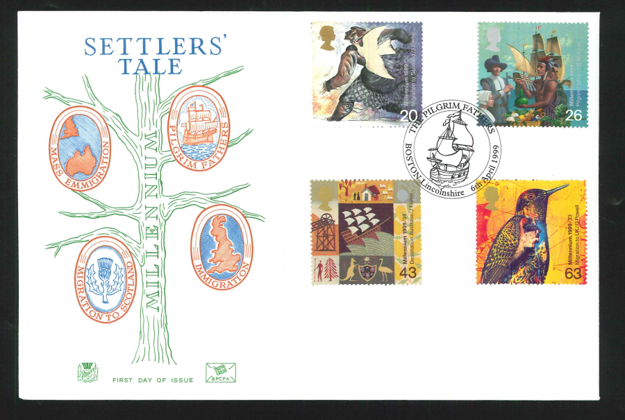 1999 Millennium Settlers' Tale First Day Cover - Pilgrim Fathers, Boston Postmark