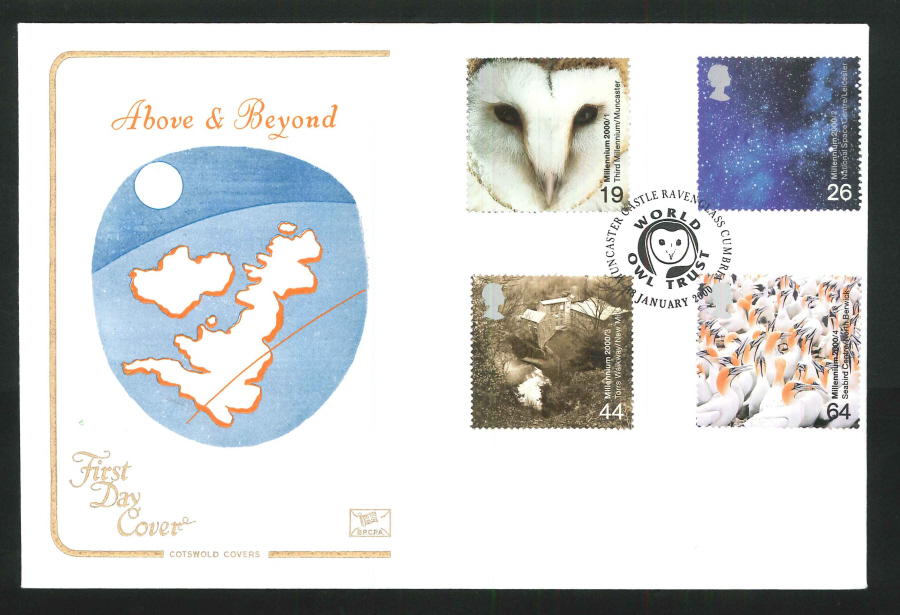 2000 Above & Beyond First Day Cover - Muncaster Castle Postmark