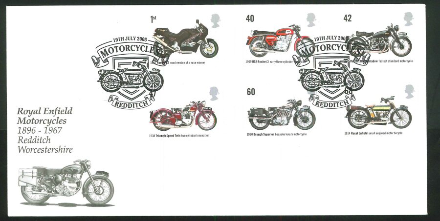 2005 British Motorcycles First Day Cover - Redditch, Worcs Postmark