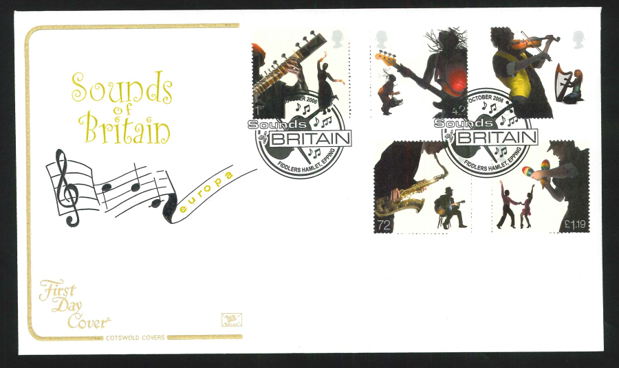 2006 Sounds of Britain First Day Cover - Fiddlers Hamlet, Epping Postmark