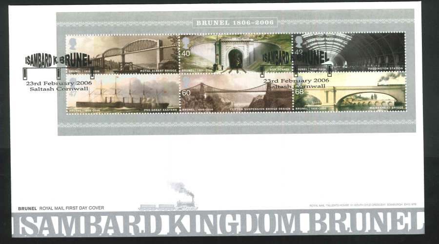 2006 Brunel First Day Cover Mini Sheet - Saltash, Cornwall Postmark